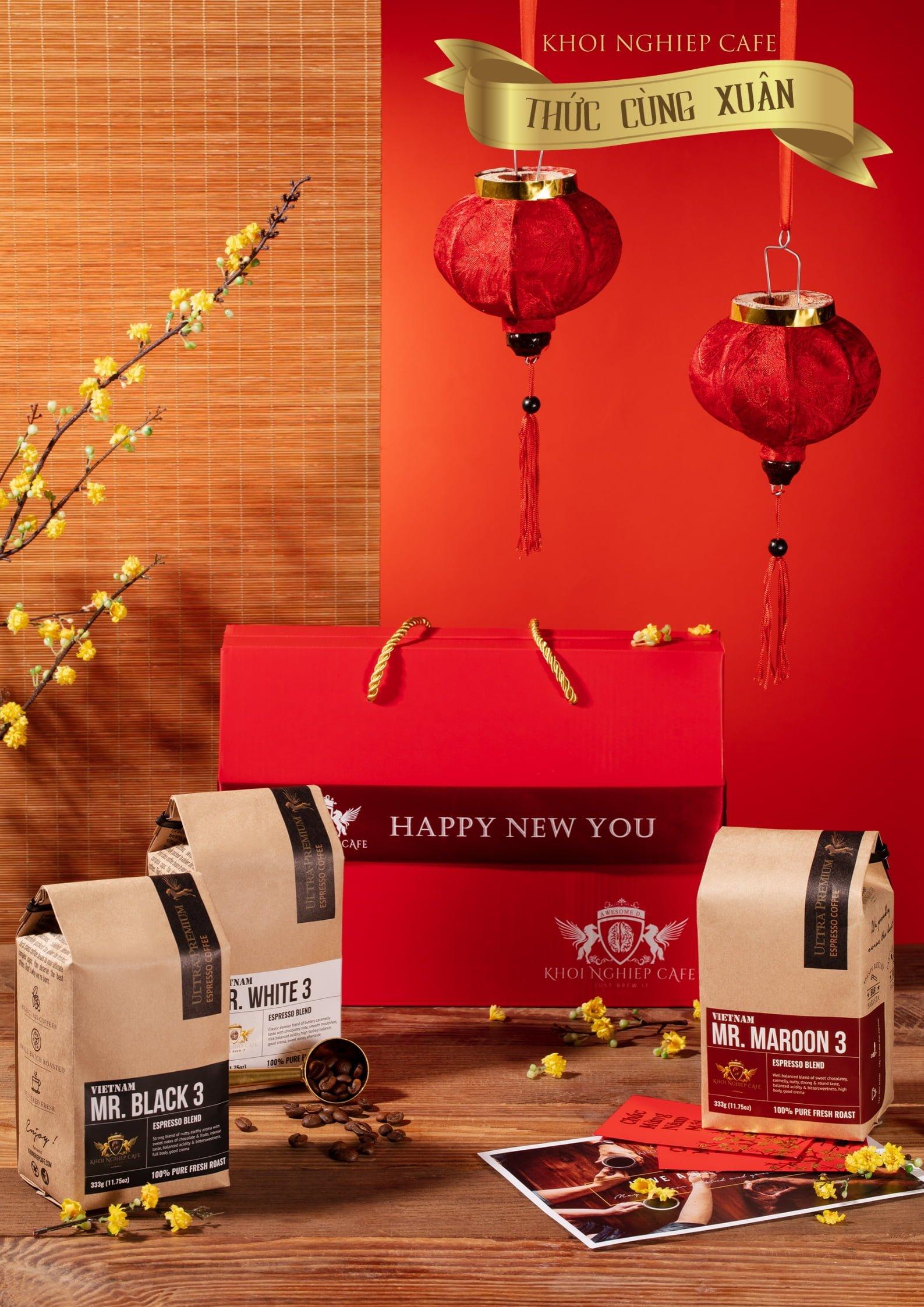 Hop qua tang cafe cao cap Gift Trio 3 1kg 3 goi khoi nghiep cafe