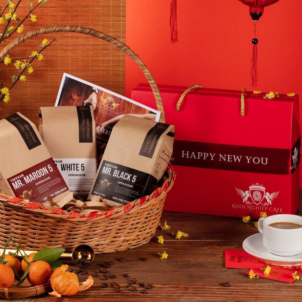Hop qua tang cafe cao cap Gift Trio 5 1kg 3 goi