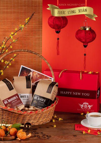 Hop qua tang cafe cao cap Gift Trio 5 1kg 3 goi khoi nghiep cafe