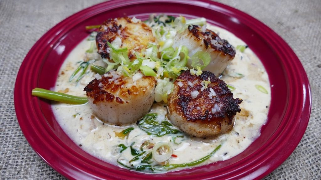 Scallop áp chảo sốt chanh sữa - Seared Scallops With Lemongrass Cream Sauce